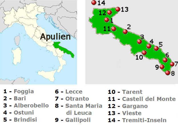 Apulien Karte Italien.Apulien Die Schönsten Städte Und Landschaften
