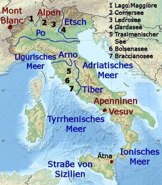 Die Geographie Italiens