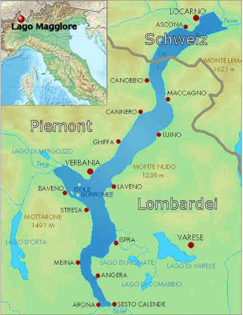 Karte Lago Maggiore Und Umgebung.Der Lago Maggiore Zwischen Italien Und Der Schweiz
