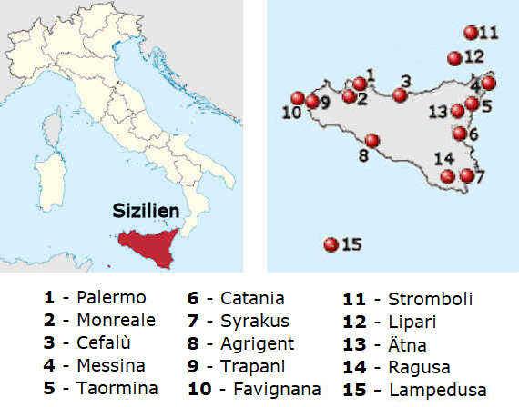 Sizilien Karte ätna.Sizilien Die Schönsten Städte Und Landschaften