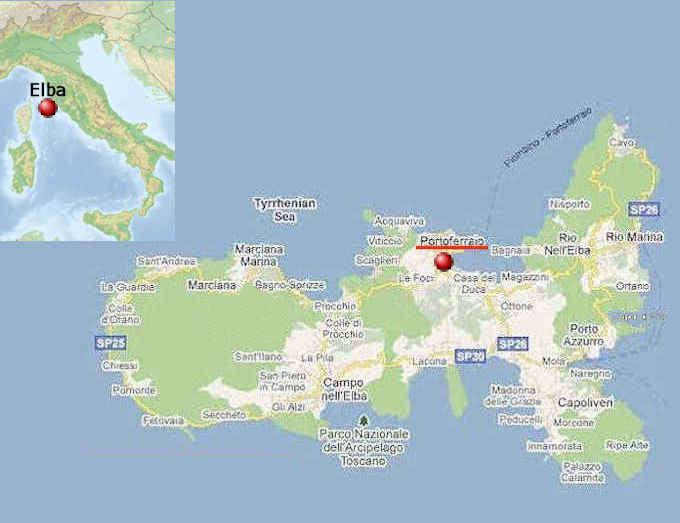 Elba Karte.Die Insel Elba