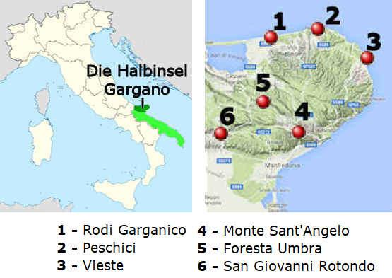 karte gargano italien Der Gargano