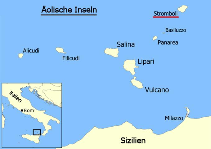Mittelmeer Karte Inseln.Die Vulkaninsel Stromboli